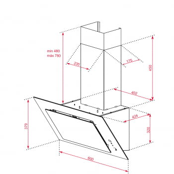 """Campana decorativa vertical Teka DVT 68660 TBS (112930039) en Cristal Negro, de 60cm a 698 m³/h   Sistema aspiración Dual y Perimetral """"Contour""""    Clase A+ - 12"""