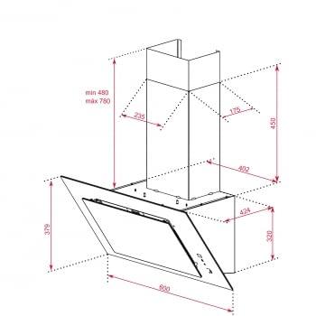 """Campana decorativa vertical Teka DVT 68660 TBS (112930040) en Cristal Blanco, de 60cm a 698 m³/h   Función FreshAir   Sistema aspiración """"Contour""""    Clase A+ - 14"""