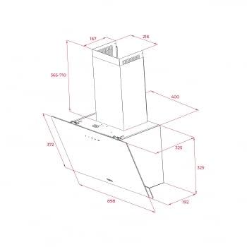 Campana decorativa vertical Teka DVN 94030 TTC (112950008) en Cristal Negro, de 90 cm a 425 m³/h | Sistema aspiración Perimetral - 8