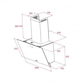 Campana decorativa vertical Teka DVN 74030 TTC (112950006) en Cristal Negro, de 70 cm a 425 m³/h | Sistema aspiración Perimetral - 8