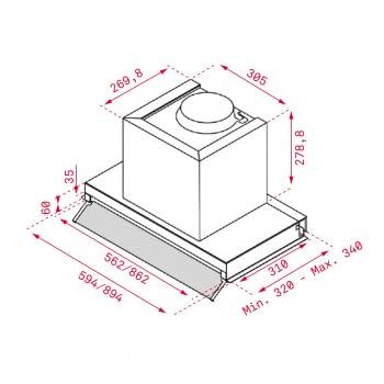 Campana Integrable Teka INTEGRA 96750 POS (113100001) Inoxidable, de 90 cm a 620 m³/h | Clase A - 2