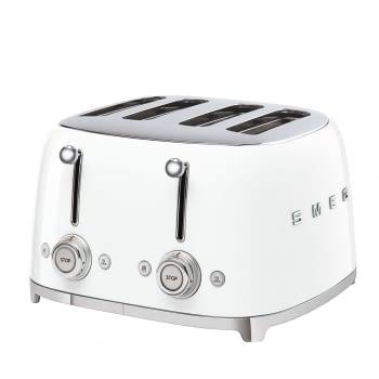 Tostadora Americana TSF03WHEU SMEG con 6 funciones de tostado | 2000 W | 3 Funciones | Color Blanco