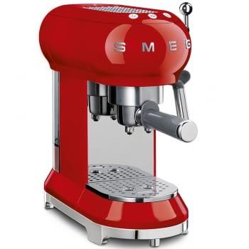 Cafetera Expresso ECF01RDEU SMEG con Sistema de calentamiento Thermoblock | 3 filtros y portafiltros | Deposito 1L | Potencia 1350W | Color Rojo