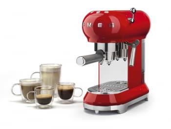Cafetera Expresso ECF01RDEU SMEG con Sistema de calentamiento Thermoblock | 3 filtros y portafiltros | Deposito 1L | Potencia 1350W | Color Rojo - 2