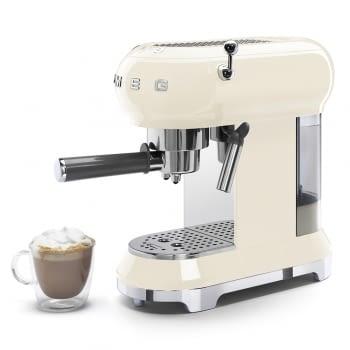 Cafetera Expresso ECF01CREU SMEG con Sistema de calentamiento Thermoblock | 3 filtros y portafiltros | Deposito 1L | Potencia 1350W | Color Crema - 3