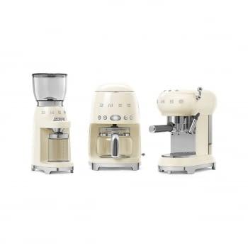 Cafetera Expresso ECF01CREU SMEG con Sistema de calentamiento Thermoblock | 3 filtros y portafiltros | Deposito 1L | Potencia 1350W | Color Crema - 7