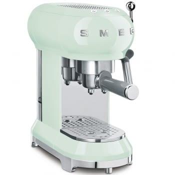 Cafetera Expresso ECF01PGEU SMEG con Sistema de calentamiento Thermoblock | 3 filtros y portafiltros | Deposito 1L | Potencia 1350 W | Color Verde Agua