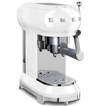 Cafetera Expresso ECF01WHEU SMEG con Sistema de calentamiento Thermoblock | 3 filtros y portafiltros | Deposito 1L | Potencia 1350W | Color Blanco