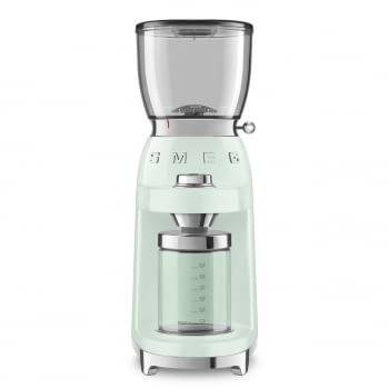 Molinillo de Café CGF01PGEU SMEG Verde Agua con Capacidad 350g | 30 niveles de molido | 9 funciones | Almacenaje 130gr