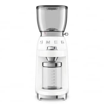 Molinillo de Café CGF01WHEU SMEG Blanco con Capacidad 350g | 30 niveles de molido | 9 funciones | Almacenaje 130gr