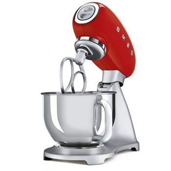 Robot de cocina SMF02RDEU SMEG Rojo de 800 W, con Sistema Planetario | Motor Direct drive | 10 velocidades variables | Capacidad cuenco bol 4,8L - 3
