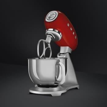Robot de cocina SMF02RDEU SMEG Rojo de 800 W, con Sistema Planetario | Motor Direct drive | 10 velocidades variables | Capacidad cuenco bol 4,8L - 4