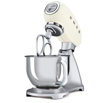 Robot de cocina SMF02CREU SMEG Crema de 800 W, con Sistema Planetario   Motor Direct drive   10 velocidades variables   Capacidad cuenco bol 4,8L - 4