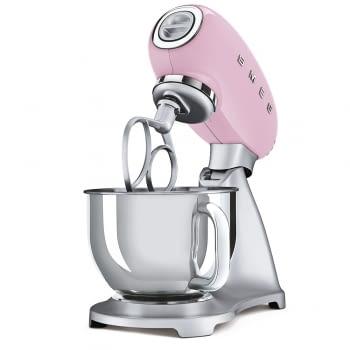 Robot de cocina SMF02PKEU SMEG Rosa de 800 W, con Sistema Planetario | Motor Direct drive | 10 velocidades variables | Capacidad cuenco bol 4,8L - 3