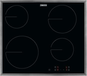 Placa de cocción vitrocerámica Zanussi ZHRN641X | Marco INOX | 4 zonas | 60 cm | Doble zona de 21cm