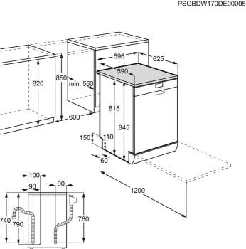 Lavavajillas AEG FFB53620ZW Blanco    AirDry + AutoOff   de 60 cm para 13 cubiertos   Inverter   Clase D - 8