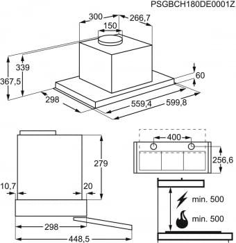 Campana Extraíble Electrolux LFP536X   Inox   60 cm   3 niveles de potencia   Max. 600 m³/h   Clase C - 5