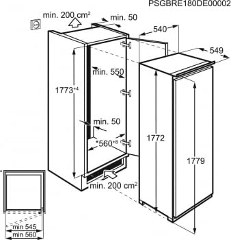 Congelador Vertical Side by Side Zanussi ZUNN18FS1 Integrable de 177 x 54.7 cm, No Frost, con FastFreeze | Clase F - 2