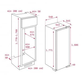 Congelador Vertical Teka TGI2 200 NF (Ref. 113500002) Integrable de 177.5 x 54 cm No Frost | Clase F - 2