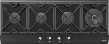 Placa de Gas Edesa EGG-1240 TI TR CI N en Cristal Negro de 116cm, con 4 Quemadores con 4 parrillas de hierro fundido | Gas Natural y Butano