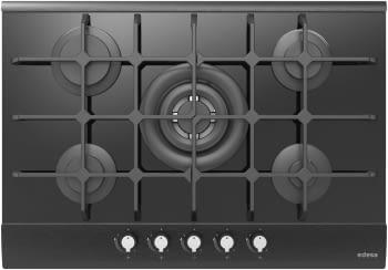 Placa de Gas Edesa EGG-7550 TI TR CI N en Cristal Negro de 75cm , con 5 Quemadores con parrilla de hierro fundido   Gas Natural y Butano