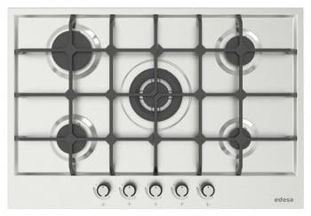 Placa de Gas Edesa EGX-7550 TI TR CI N con 5 Quemadores con parrilla de hierro fundido | Gas Natural y Butano