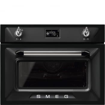 Horno con Microondas Victoria Smeg SF4920MCN1 Negro, compacto 45 cm, con 13 funciones de cocción y limpieza Vapor Clean