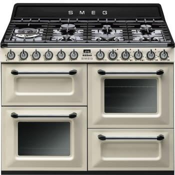 Cocina Victoria Smeg TR4110P1 Crema de 110 cm, Encimera de Gas con 7 Zonas de cocción, 3 Hornos con limpieza Vapor Clean | Clase A