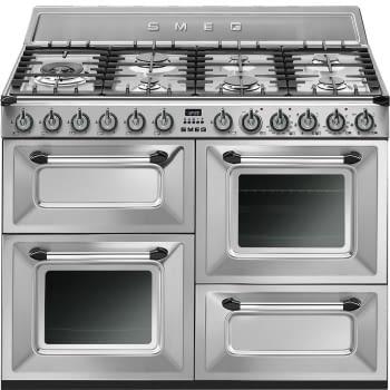 Cocina Victoria Smeg TR4110X Inoxidable de 110 cm, Encimera de Gas con 7 Zonas de cocción, 3 Hornos con limpieza Vapor Clean | Clase A - 1
