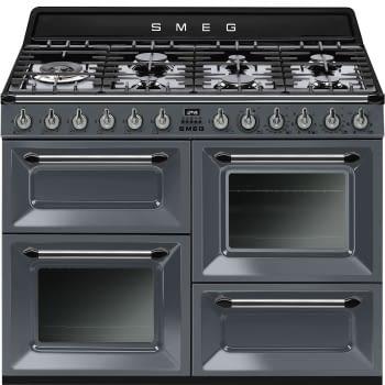 Cocina Victoria Smeg TR4110GR Gris de 110 cm, Encimera de Gas con 7 Zonas de cocción, 3 Hornos con limpieza Vapor Clean | Clase A