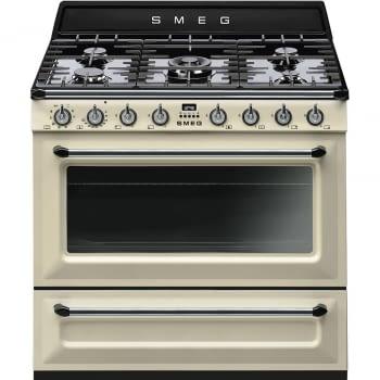 Cocina Victoria Smeg TR90P9 Crema de 90 cm, Encimera de Gas con 5 Zonas de cocción, 1 Horno Termoventilado con limpieza Vapor Clean | Clase A