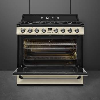 Cocina Victoria Smeg TR90P9 Crema de 90 cm, Encimera de Gas con 5 Zonas de cocción, 1 Horno Termoventilado con limpieza Vapor Clean   Clase A - 3