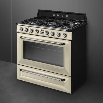 Cocina Victoria Smeg TR90P9 Crema de 90 cm, Encimera de Gas con 5 Zonas de cocción, 1 Horno Termoventilado con limpieza Vapor Clean   Clase A - 4