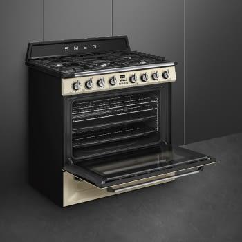 Cocina Victoria Smeg TR90P9 Crema de 90 cm, Encimera de Gas con 5 Zonas de cocción, 1 Horno Termoventilado con limpieza Vapor Clean   Clase A - 5