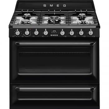 Cocina Victoria Smeg TR90BL9 Negra de 90 cm, Encimera de Gas con 5 Zonas de cocción, 1 Horno Termoventilado con limpieza Vapor Clean | Clase A