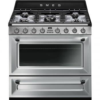 Cocina Victoria Smeg TR90X9-1 Inoxidable de 90 cm, Encimera de Gas con 5 Zonas de cocción, 1 Horno Termoventilado con limpieza Vapor Clean | Clase A