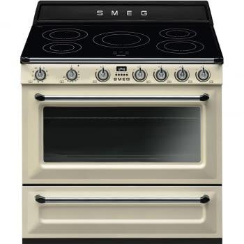 Cocina Victoria Smeg TR90IP9 Crema de 90 cm, Encimera de Inducción con 5 Zonas de inducción y 1 Horno Termoventilado con limpieza Vapor Clean | Clase A