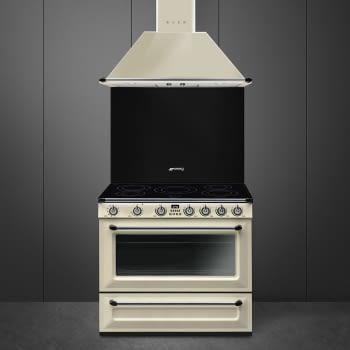 Cocina Victoria Smeg TR90IP9 Crema de 90 cm, Encimera de Inducción con 5 Zonas de inducción y 1 Horno Termoventilado con limpieza Vapor Clean   Clase A - 2