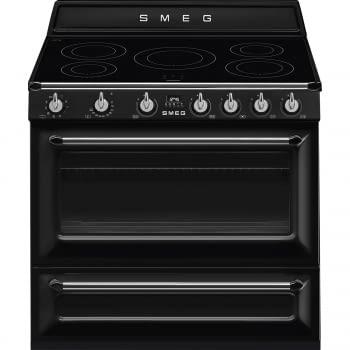 Cocina Victoria Smeg TR90IBL9 Negra de 90 cm, Encimera de Inducción con 5 Zonas de inducción y 1 Horno Termoventilado con limpieza Vapor Clean | Clase A