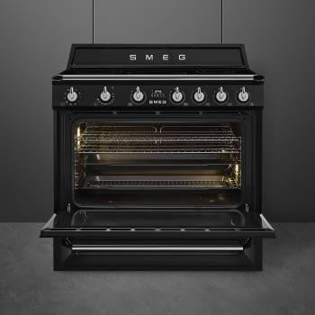 Cocina Victoria Smeg TR90IBL9 Negra de 90 cm, Encimera de Inducción con 5 Zonas de inducción y 1 Horno Termoventilado con limpieza Vapor Clean | Clase A - 3