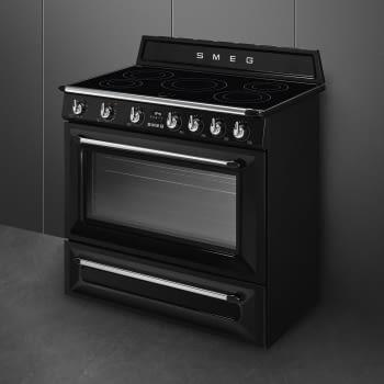 Cocina Victoria Smeg TR90IBL9 Negra de 90 cm, Encimera de Inducción con 5 Zonas de inducción y 1 Horno Termoventilado con limpieza Vapor Clean | Clase A - 4