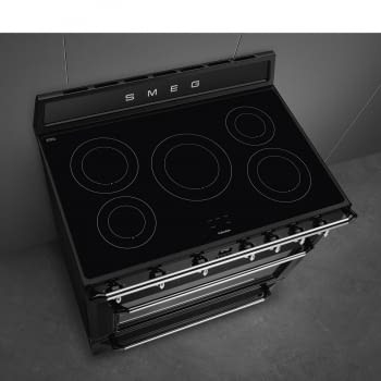 Cocina Victoria Smeg TR90IBL9 Negra de 90 cm, Encimera de Inducción con 5 Zonas de inducción y 1 Horno Termoventilado con limpieza Vapor Clean | Clase A - 6