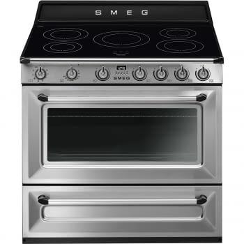 Cocina Victoria Smeg TR90IX9-1 Inoxidable de 90 cm, Encimera de Inducción con 5 Zonas de inducción y 1 Horno Termoventilado con limpieza Vapor Clean | Clase A