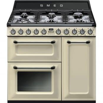Cocina Victoria Smeg TR93P Crema de 90 cm, Encimera de Gas con 6 Quemadores de Gas y 3 Hornos Termoventilado con limpieza Vapor Clean | Clase A