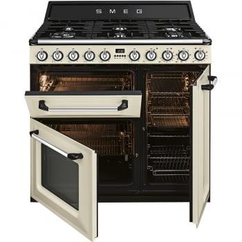 Cocina Victoria Smeg TR93P Crema de 90 cm, Encimera de Gas con 6 Quemadores de Gas y 3 Hornos Termoventilado con limpieza Vapor Clean | Clase A - 2