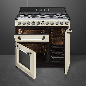 Cocina Victoria Smeg TR93P Crema de 90 cm, Encimera de Gas con 6 Quemadores de Gas y 3 Hornos Termoventilado con limpieza Vapor Clean | Clase A - 5