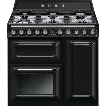 Cocina Victoria Smeg TR93BL Negra de 90 cm, Encimera de Gas con 6 Quemadores de Gas y 3 Hornos Termoventilado con limpieza Vapor Clean | Clase A