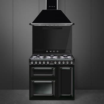 Cocina Victoria Smeg TR93BL Negra de 90 cm, Encimera de Gas con 6 Quemadores de Gas y 3 Hornos Termoventilado con limpieza Vapor Clean   Clase A - 2