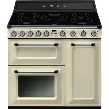 Cocina Victoria Smeg TR93IP Crema de 90 cm, Encimera de Inducción con 5 Zonas y 3 Hornos Termoventilados con limpieza Vapor Clean | Clase A