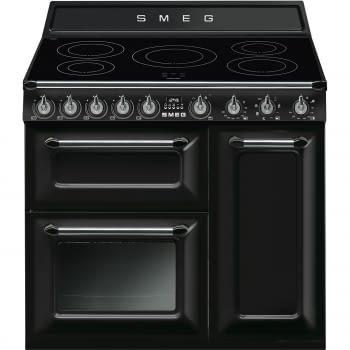 Cocina Victoria Smeg TR93IBL Negra de 90 cm, Encimera de Inducción con 5 Zonas y 3 Hornos Termoventilados con limpieza Vapor Clean | Clase A